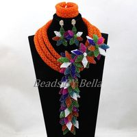 Big Full Beads Nigerian Wedding Orange Costume African Jewelry Sets Pendant Flowers Necklace For Bridal Free Shipping ABL002