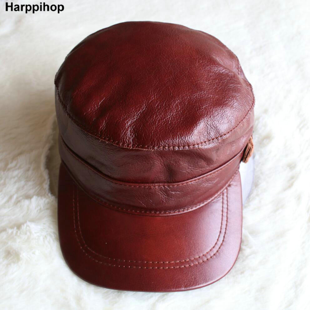 Harppihop*genuine leather men baseball cap hat high quality men's real sheep skin leather adult solid army hats caps 35colors silver gold soild india scarf cap warmer ear caps yoga hedging headwrap men and women beanies multicolor fold hat 1pc