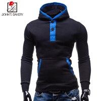 New Brand Hoodies Men 2017 Funny Fashion Sweatshirts Hooded Slim Hoodies Long Hoodie Mens Casual Button