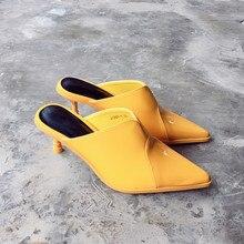 Женские пикантные туфли-лодочки 2017, Новая мода Лакированная кожа острый носок дамы Шлёпанцы слипоны средней высоты женская обувь для вечеринок Размер 35–40