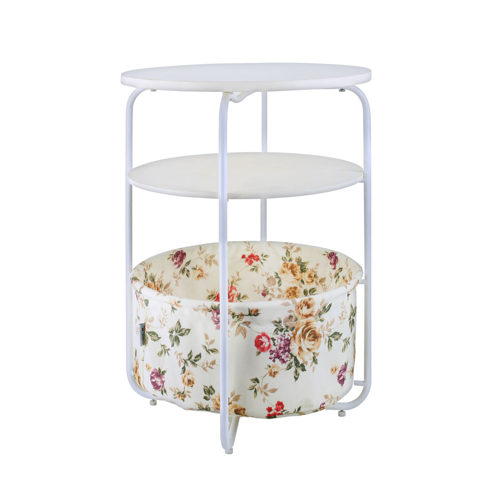 Round Wooden Side Table 3 Tiers With a Book Storage Canvas Basket Bag цена 2017