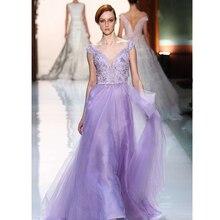 vestido de renda v-neck women summer dress 2014 new fashion party prom dress sexy Lavender long evening Dress free shipping