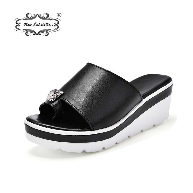 New exhibition Women Slippers 2019 summer ladies toe slip slippers fashion rhinestone thick bottom wedge fish mouth shoes