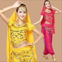 6 Colors newest sexy Belly dance Stage Performance costumes Oriental india bollywood style Clothes Stage & Dance Wear for Women