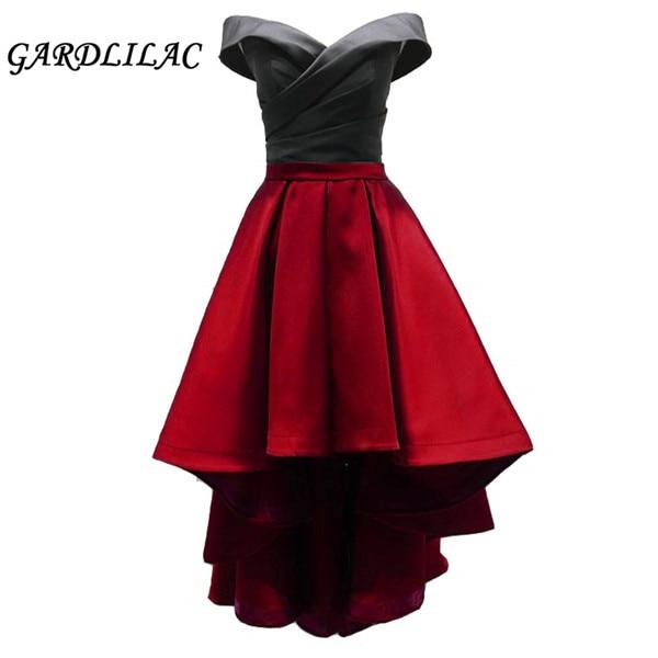 New Off the Shoulder Dress Hi Lo Prom Dress 2 Color Homecoming Dress Satin High Low
