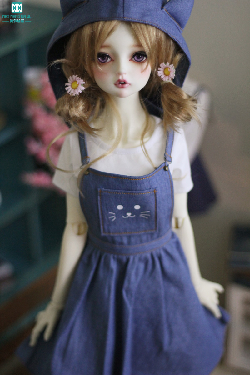 BJD Accessories Doll Clothes Girl Dress Fits 60m 1/3 BJD Doll Fashion T-shirt Cat Face Denim Skirt