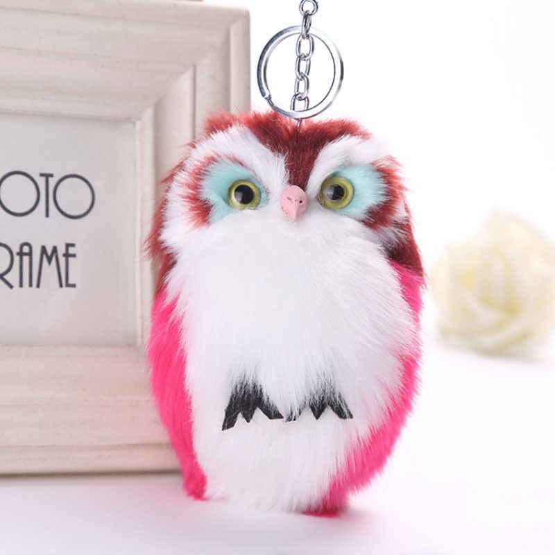 15 cm bonito fofo coruja chaveiro & pingente feminino chaveiro titular falso coelho pele pompons chaveiro para bolsa