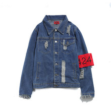 2017Hot style Top Quality Jeans Jackets 424 FourTwoFour Men Hip Hop Coat Destroy Washed Distressed Denim Jacket Chaqueta