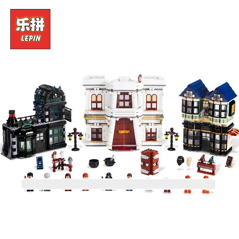 Lepin 16012 2025Pcs Magic World Diagon Alley Set Model Building Kits Blocks Bricks Children Toys Movie Series Kids Gift 10217 lepin 16012 diagon alley building bricks blocks toys for children boys game model car gift compatible with bela decool 10217