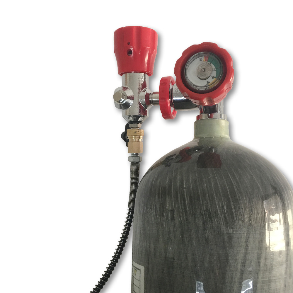Acecare Fashion PCP Air Gun Hunting Use 6.8L 30Mpa Diving Cylinder Tank With Red Gauged Valve and Filling Station Drop Shipping