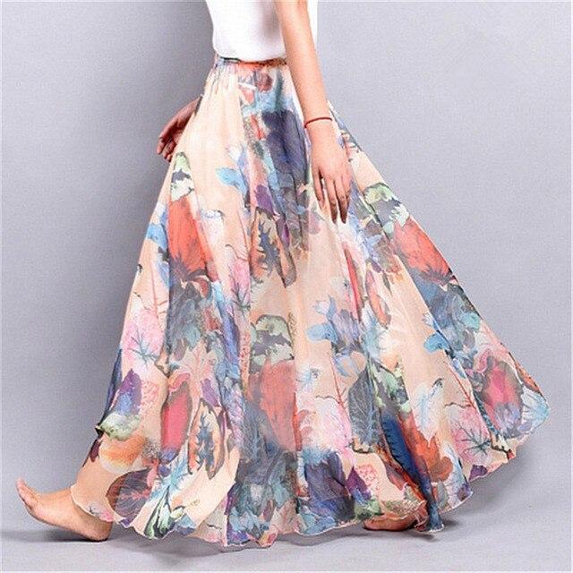 Elegant Summer 2018 Women Long Skirt Chiffon Saia Beach Bohemian Maxi Skirts High Waist Tutu Casual 2