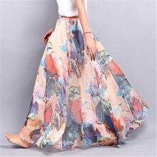 Elegant Summer 2018 Women Long Skirt Chiffon Saia Beach Bohemian Maxi Skirts High Waist Tutu Casual Vestidos Harajuku Print