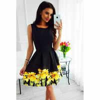 Summrt vestido para mujer vestidos sin mangas Casual playa Strappy vestido Boho Floral vestido de vacaciones vestidos de fiesta de noche