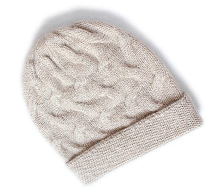 add thick 100%goat cashmere twisted knit winter fashion beanie hats unisex bonnets beige brown 2color EU/M(56 58cm)