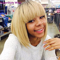 Short Straight Hair Blonde Wig For Black Women Synthetic Wigs Free Shipping