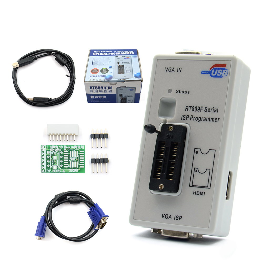 Newest RT809F Serial ISP programmer VGA LCD ISP programmer with RT SOP8 A Simple adapter programmer