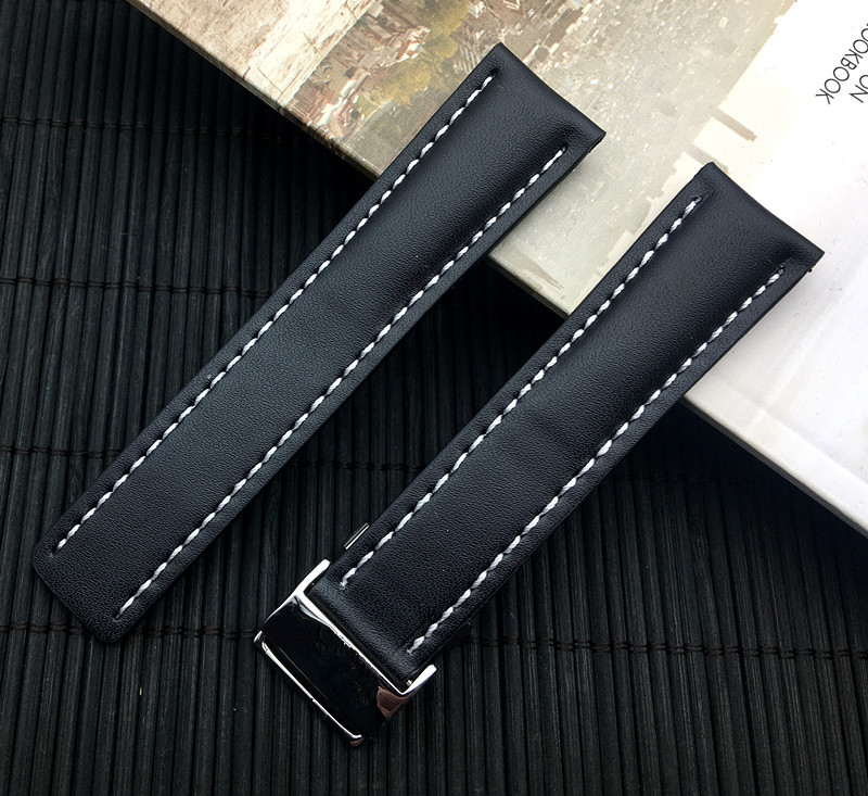 Image 3 - Luxury Genuine Leather Watch Band Watchband For Breitling strap for NAVITIMER WORLD Avenger/navitimer belt 22mm 24mm logo on-in Watchbands from Watches