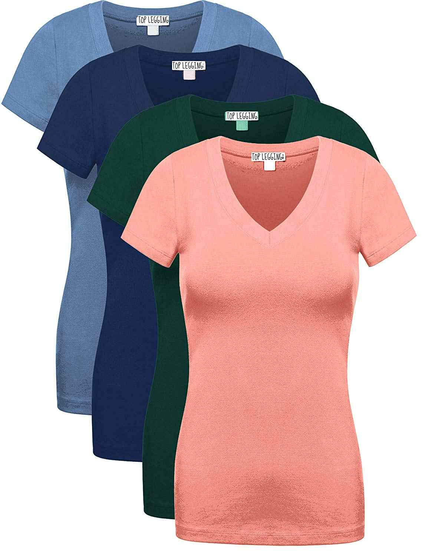 c36eec4723ea 2018 Comfy Basic Cotton Short Sleeves Solid V-Neck Plain T-Shirts for Women