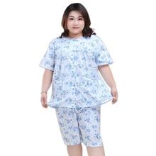 5XL manica corta delle donne breve pigiama set pigiama di cotone degli indumenti da notte Floreale Fresco pigiami di estate delle donne 130KG XXXXXL Più Il formato