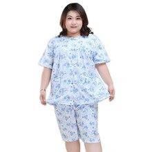Pijama corto de manga corta para mujer, ropa de dormir de algodón, fresco, Floral, 130KG, XXXXXL, de talla grande, 5XL