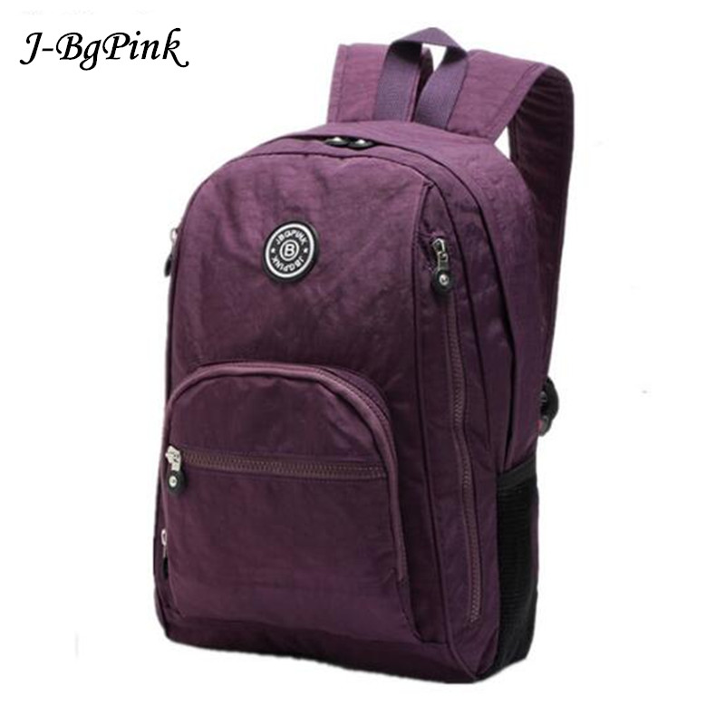 J-BG PinK 2018 Women Backpack for Teenage Girls Nylon Backpacks Mochila Feminina Female Travel Bagpack Schoolbag women Bag new women leather backpack black bolsas mochila feminina girl schoolbag travel bag solid candy color green pink beige