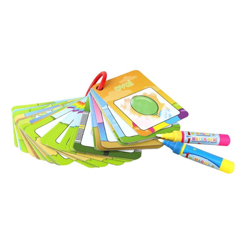 Kids Magic Painting Toy Water Drawing Cognitive Digital Card Magic Pen Set Early Art Education Gift Toy for Girls Boys Baby