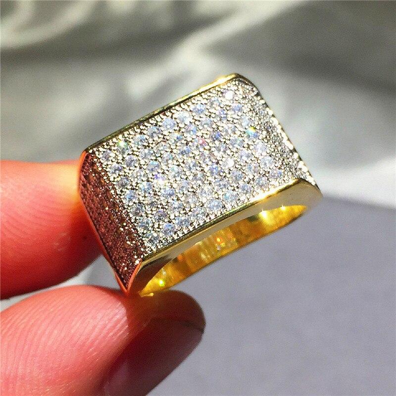 Di Lusso degli uomini di Hip Hop Anello gioielli In Argento 925 bling SONA Diamant pittura piena di anelli d'oro per i ragazzi regalo Del Partito Size 8-13