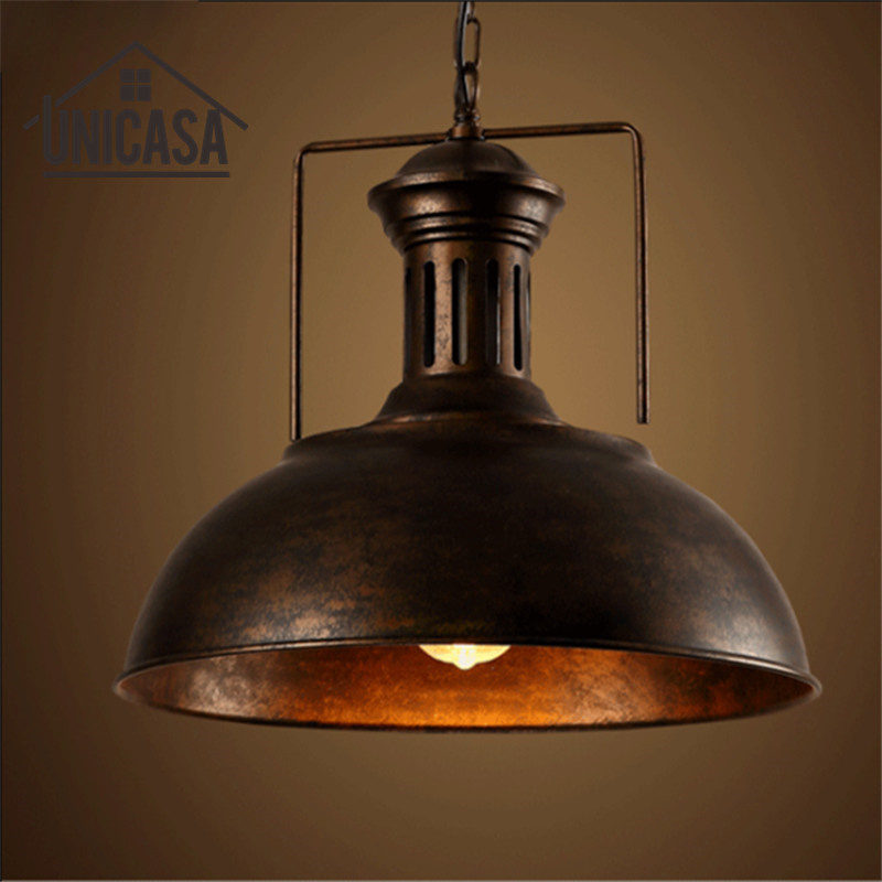 Vintage Pendant Ceiling Lamp Wrought Iron Industrial Rusty Metal Lights Hotel Kitchen Island Lighting Fixtures Antique glass shade modern pendant lights vintage industrial kitchen island lighting office hotel shop antique led pendant ceiling lamp