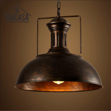 Vintage Pendant Ceiling Lamp Wrought Iron Industrial Rusty Metal Lights  Hotel Kitchen Island Lighting Fixtures Antique  недорго, оригинальная цена