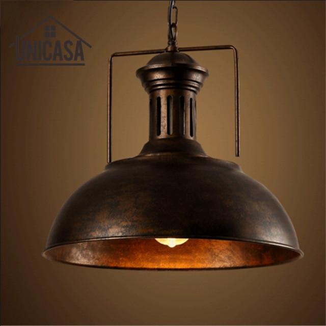 Vintage colgante lámpara de techo de hierro forjado industrial metal ...