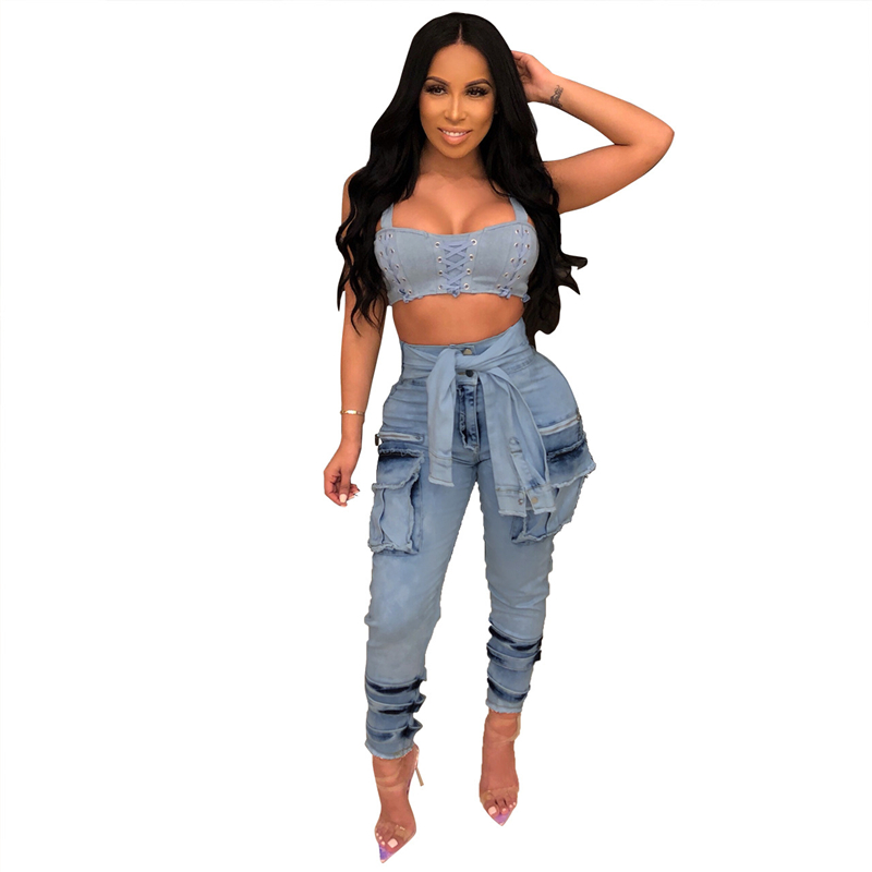 Adogirl Fake Sleeve Tie Buttons Women Jeans Pants with Pockets Fashion Vintage Overalls Casual Denim Trousers Streetwear Outfits Pants & Capris Women Bottom ! Plus Size Women's Clothing & Accessories