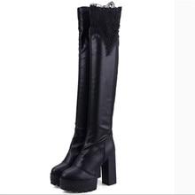 Женская обувь колено высокие женщины длинные круглым высокие каблуки осенние зимние сапоги высокие сапоги шелк бутона черный горячая платформа сапоги сапоги для верховой езды