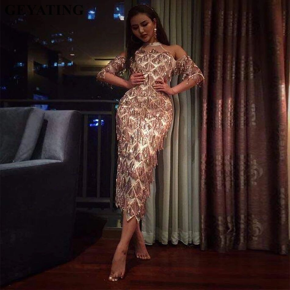 Arabic Tea Length Sheath Short Evening   Dress   with Sleeves High Neck Rose Gold Sequins Tassel Split Party   Prom     Dresses   2019 Cheap