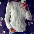 Женская мода С Длинным Рукавом О-Образным Вырезом Свободные Трикотажные Пуловер Свитер