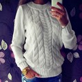 Fashion Women Long Sleeve O-Neck Loose Knitted Pullover Sweater