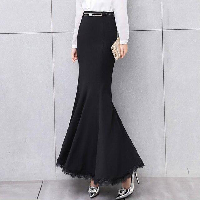 07bfd9c04 2018 Fashion Autumn Winter Warm Fleece Maxi Long Mermaid Skirts For Women  High Waisted Woman Lady Lace Ruffles Long Skirts