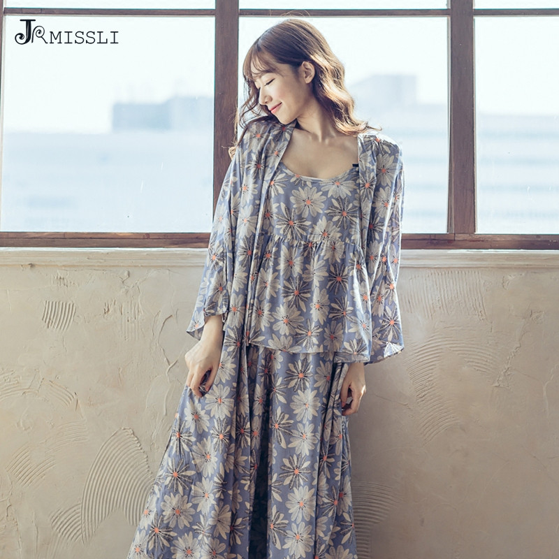 JRMISSLI Vintage Print Women   Pajamas     Sets   2017 Brand Design 3 Pcs Ladies Cotton   Pajamas   Suit Female Sleep Lounge
