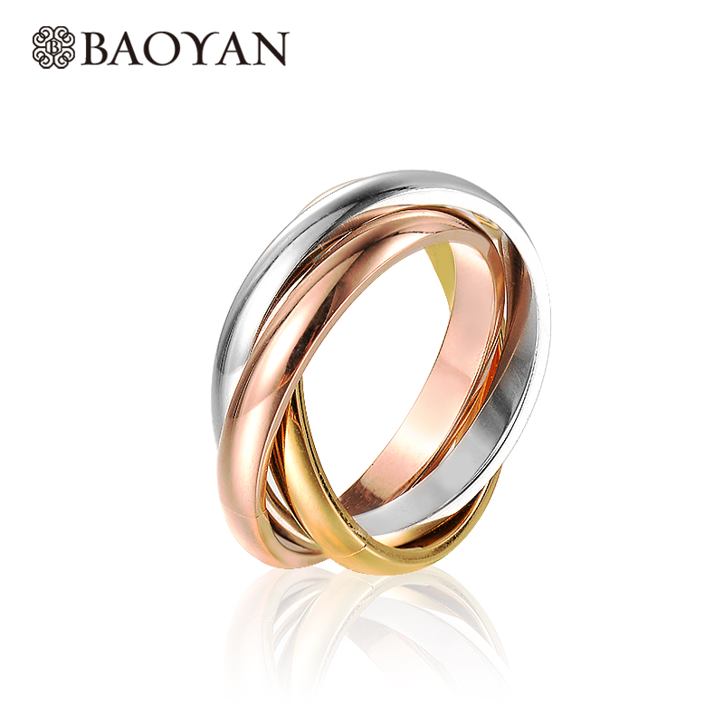 Baoyan Fashion Elegant 316L Stainless Steel Silver Rose Gold Triple Color Band Ring Set for Women N1