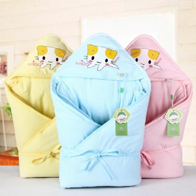 Cartoon Cat Baby Swaddle Wrap Infant Newborn Thick Warm Blanket Cotton