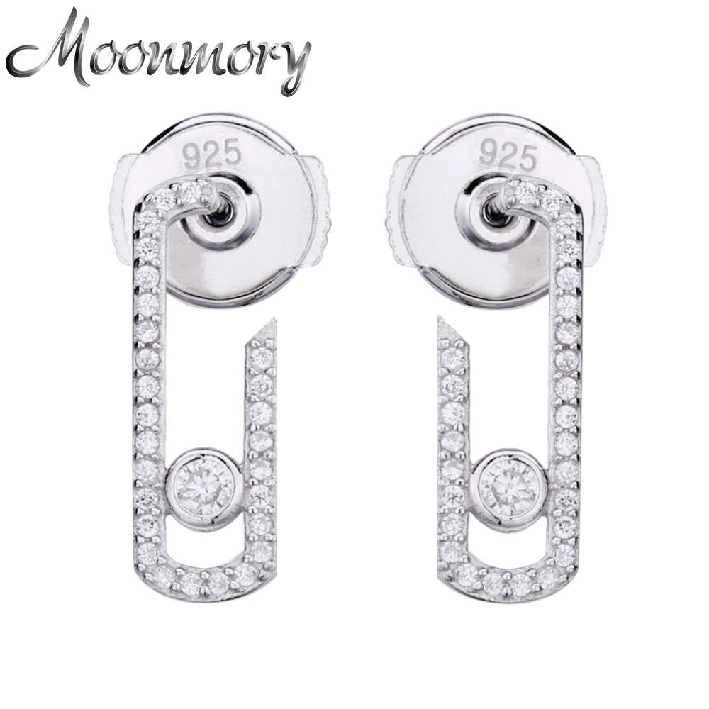 Moonmory Real 925 Sterling Silver Pure Love Pearl Vintage Earrings Crystal Zircon(Stone Can Not Moved )Jewelry Pave Earring