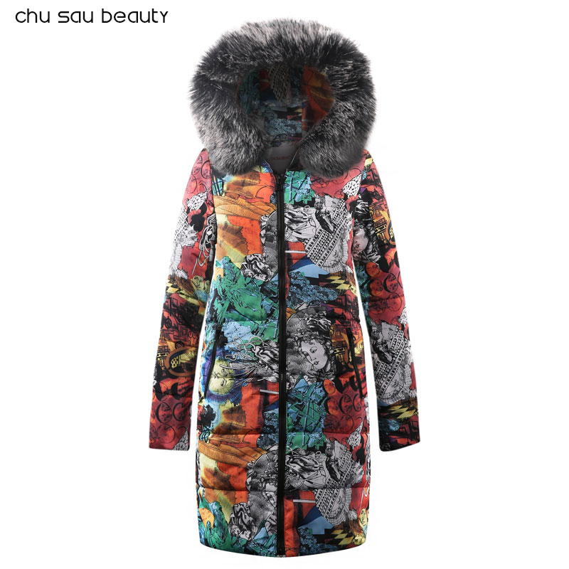 Fur Warm Hooded Long Down   Parkas   Women Down Jacket Winter Coat Cotton Padded Jacket Woman Winter Jacket Coat Female