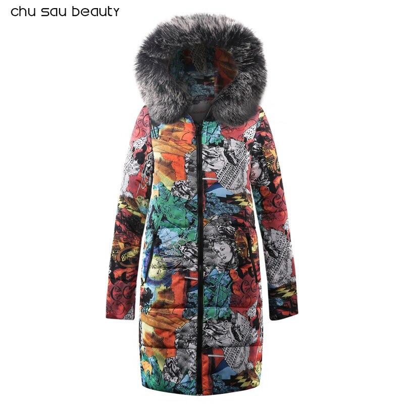 fur Warm Hooded Long Down   Parkas   Women Down Jacket Winter Coat Cotton Padded Jacket Woman Winter Jacket Coat Female New 2018