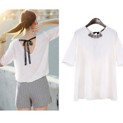 15sdns410 marca m s el tama o blusa camisa 2015 del estilo del verano blusas de gasa blanca - Decorar camisetas basicas ...