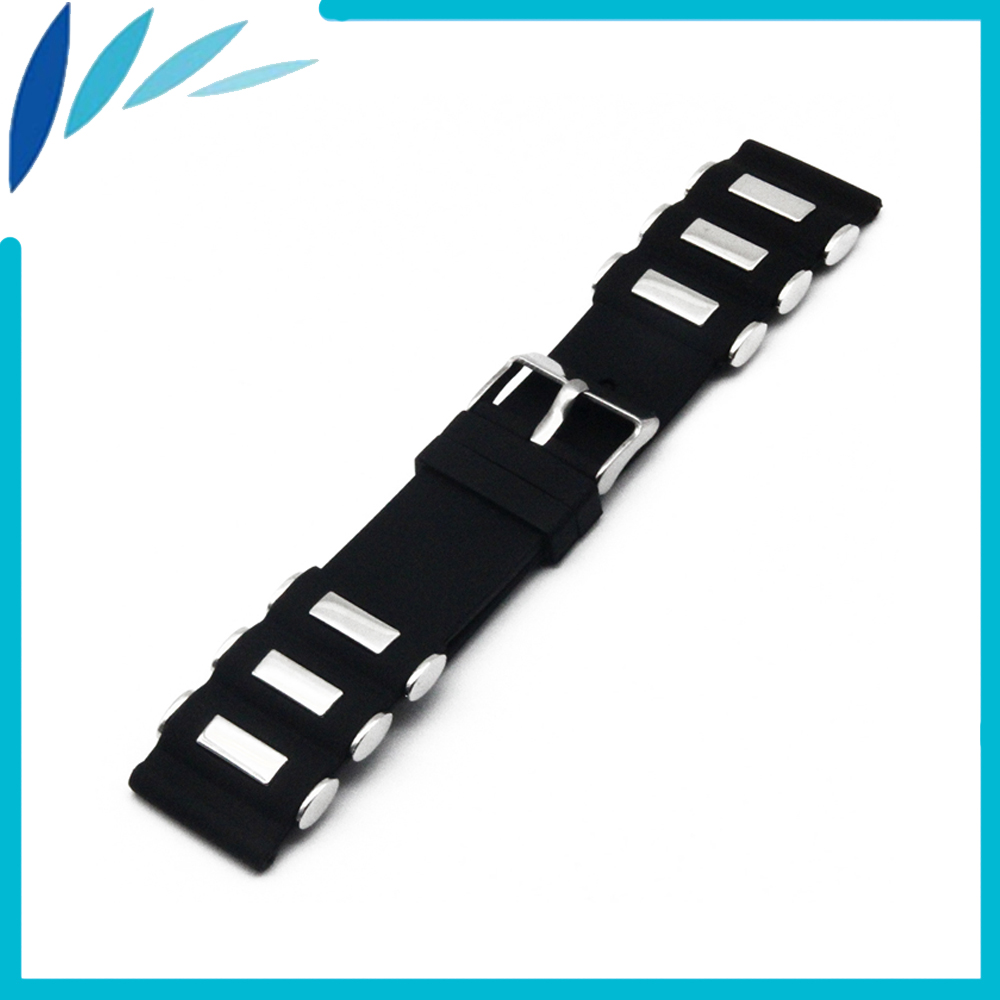 Silicone Rubber Watch Band 22mm 24mm for Fossil Stainless Steel Clasp Strap Wrist Loop Belt Bracelet Black + Spring Bar + Tool цена