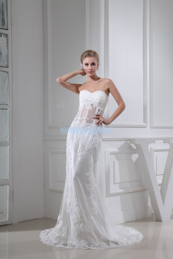 free shipping 2013 new design lace fashion bride long custom size/color white/ivory sexy elie saab mermaid wedding dress