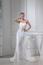 free shipping 2013 new design lace fashion bride long custom size/color white/ivory sexy elie saab mermaid wedding dress