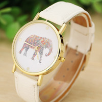 Lovesky new Fashion Women Watches Elephant Printing Pattern Weaved Leather Quartz Dial marble Watch wristwatch Wholesale &Ff