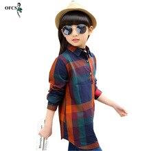 Shirt 3-12Age Kids Girls Blouse Long Sleeve Grid Shirts 2017 Spring Fall Cotton Teenage Girls Long Shirts Top Child Girls Orange