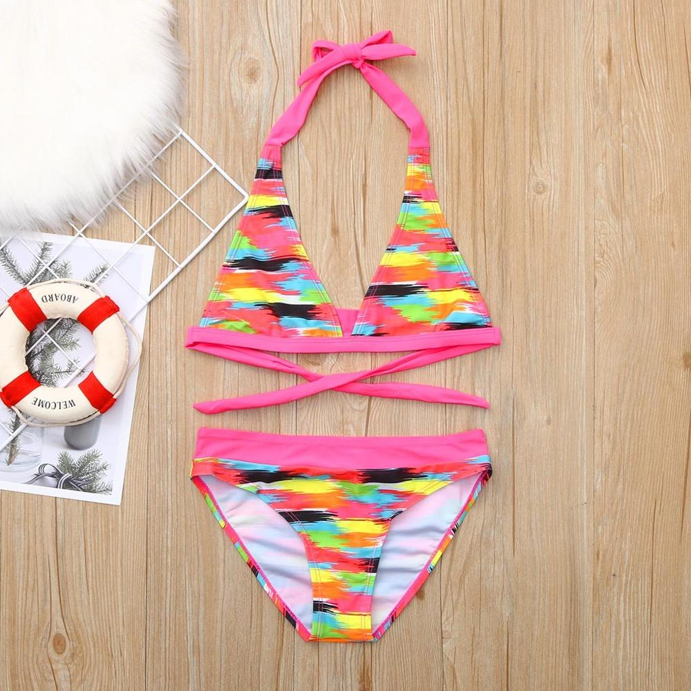 6-16years Children Swimwear Girls Swimwear Girls Bikini Beach Print Swimsuit+Shorts Swimwear Set Outfit Kız Bebek Mayo A1