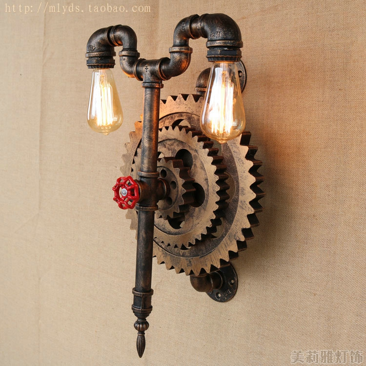 Gear water pipe rustic loft style industrial vintage wall lamp gear water pipe rustic loft style industrial vintage wall lamp with 2 lights fixtures wall sconce edison style lighting aloadofball Image collections